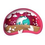Cartoon paper landscape. Elephant illustration. Cloud, leaf, sun, star. vector illustration