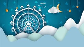 Cartoon paper landscape. Ferris wheel illustration. Vector eps 10 Stock Image