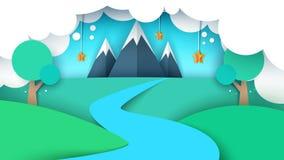 Cartoon paper landscape illustration. Mountain, star, tree,. River field Vector eps 10 Royalty Free Stock Photo