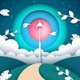 Cartoon paper landscape. Street lamp illustration. Vector eps 10 royalty free illustration