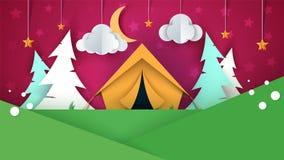 Cartoon paper landscape. Tent, Christmas tree, cloud, sky, star llustration. Cartoon paper landscape. Tent, Christmas tree, cloud, sky star llustration Vector Royalty Free Stock Images