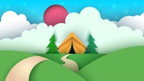 Cartoon paper landscape. Tent, Christmas tree, cloud, sky, star llustration. royalty free illustration