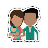 Cartoon parents and baby family. Vector illustration eps 10 Stock Photo