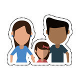 Cartoon parents with daugther family. Vector illustration eps 10 Royalty Free Stock Photos