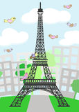 Cartoon Paris with birds Stock Images