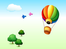 Cartoon park. Illustration of cartoon park with trees, birds and fire balloon Stock Image