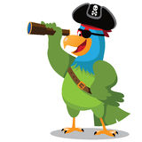 Cartoon parrot looks at your message Royalty Free Stock Photography