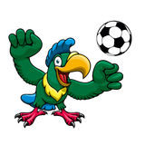 Cartoon parrot player with soccer ball Royalty Free Stock Images