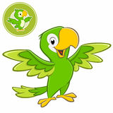 Cartoon Parrot. Vector illustration of a cartoon green parrot with separate badge Stock Images