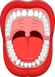 Cartoon Parts of Human mouth. Open mouth and white healthy tooth Stock Images