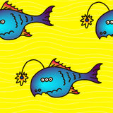 Cartoon party anglefish, seamless pattern. Mariana trench inhabitant Royalty Free Stock Images