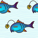 Cartoon party anglefish, seamless pattern. Mariana trench inhabitant. Cartoon party anglefish  illustration Stock Images