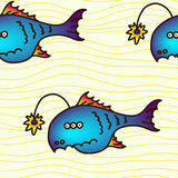 Cartoon party anglefish, seamless pattern. Mariana trench inhabitant. Cartoon party anglefish vector illustration Royalty Free Stock Images
