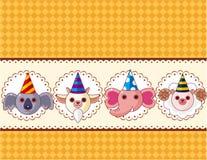 Cartoon party animal head card Stock Photo