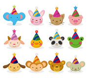 Cartoon party animal head icon set Stock Photo