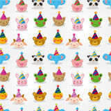 Cartoon party animal head seamless pattern Stock Image