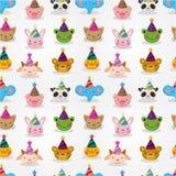Cartoon Party Animal Head Seamless Pattern Stock Image