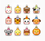 Cartoon party animal icon set Royalty Free Stock Photo