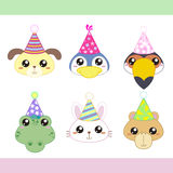 Cartoon Party Animal icons collection Royalty Free Stock Photos