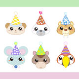 Cartoon Party Animal icons collection Royalty Free Stock Images