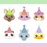 Cartoon Party Animal icons collection Royalty Free Stock Image
