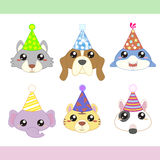 Cartoon Party Animal icons collection Stock Images