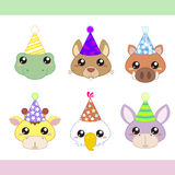 Cartoon Party Animal icons collection Royalty Free Stock Photography
