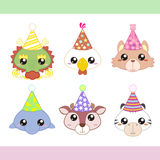 Cartoon Party Animal icons collection Stock Photo