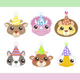 Cartoon Party Animal icons collection Stock Photos