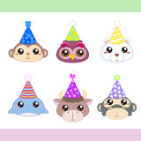 Cartoon party animal icons collection Stock Image