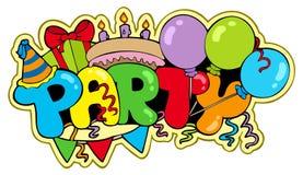 Cartoon party sign Stock Photos