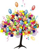 Cartoon party tree with baloons Royalty Free Stock Photo