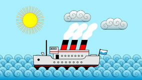 Cartoon Passenger Ship Background Stock Images