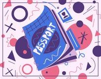 Cartoon passport. Air travel concept. Vector flat illustration. Sticker or banner design vector illustration