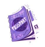 Cartoon passport. Air travel concept. Vector flat illustration. Sticker or banner design stock illustration