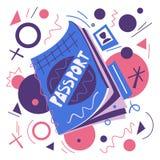 Cartoon passport. Air travel concept. Vector flat illustration stock photo