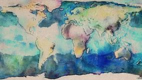Watercolor planet earth map seamless endless loop stop motion cartoon animation - new quality unique handmade retro stock footage