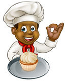 Cartoon Pastry Chef Baker With Fairy Cake Royalty Free Stock Photos