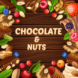 Cartoon Pastry Template. With nuts berries whipped cream chocolate candies and pieces on wooden background vector illustration Stock Image