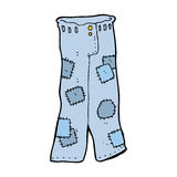 Cartoon patched old jeans Royalty Free Stock Image