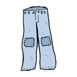 Cartoon patched old jeans Royalty Free Stock Photography
