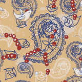 Cartoon pattern with birds, beads, and  Paisley Stock Images