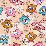 Cartoon pattern with birds. Royalty Free Stock Image