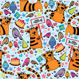 Cartoon pattern with cats and birds Stock Photo