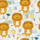 Cartoon pattern with cute lions, dots and flowers stock illustration