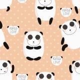 Cartoon pattern with cute panda guru. Stock Image