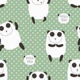 Cartoon pattern with cute panda guru. Stock Photography