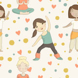 Cartoon pattern with girls involved in sports Royalty Free Stock Photography