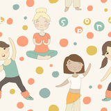Cartoon pattern with girls involved in sports Royalty Free Stock Images
