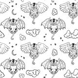 Cartoon pattern with monsters angel and yo. Stock Photography
